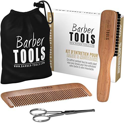 Coffret: Brosse + peigne + ciseaux + sac / kit barbe / BARBER TOOLS