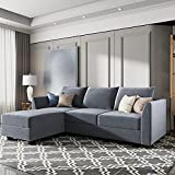 HONBAY Reversible Sectional Sofa Couch with Chaise L Shape Couch Modern Modular Sofa for Living Room, Bluish Grey