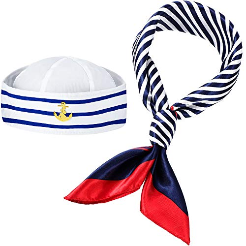 Sailor Hat and Scarf Set for Women Fancy Navy Outfit Blue with White Sail Hat Navy Sailor Hat, Navy and White Scarf for Costume Accessory, Dressing Up for Party