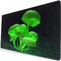 ネオンマッシュルームマウスパッド15.8x29.5インチブラックマウスパッド、オフィス/ゲーム/家庭用滑り止めラバーベースマウスマットマウスパッド