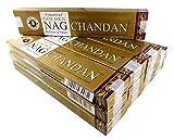 Bastoncini di incenso in una confezione risparmio 12 confezioni da 15 g, circa 180 bastoncini, Golden Nag Chandan, legno di sandalo