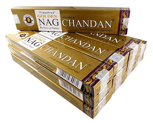 Set di 12 bastoncini di incenso da 15 g Ca 180 bastoncini Golden Nag Chandan – Legno di sandalo
