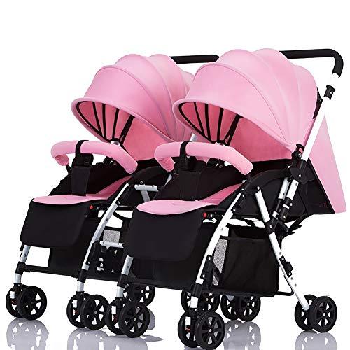 Poussettes jumelle à poignée détachable Porte-bébé réversible Peut s'asseoir et Se Coucher léger Chariot Double Pliable