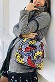 Sac à dos Femme Wax tissu Africain Pagne fleurs de mariage, jaune et rouge, idée cadeau Noel femme