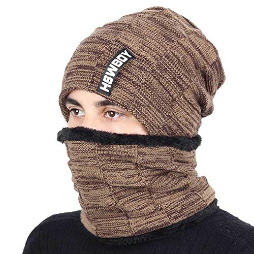 Bonnet Chapeau Homme Beanie Hats, Bonnet en Tricot de Couleur Unie de la Marque Hat écharpeVelvet d'hiver Chapeau Homme Femme Chaud épaissir Hedging Bonnet de Ski écharpes Douces @ Khaki