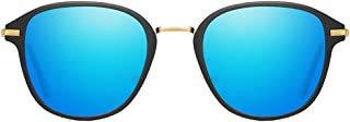 Fashion Black/Blue/Pink/Silver/Orange Red Men and Women with The Same Driving Sunglasses Fashion Trend Wild Metal Material Color Film Sunglasses Retro (Color : Blue)