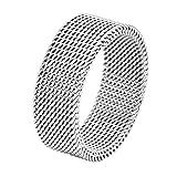 Geoffrey Beene Stainless Steel Men's Comfort Fit Mesh Ring, Silver