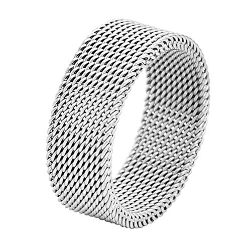 Geoffrey Beene Stainless Steel Men's Comfort Fit Mesh Ring, Silver