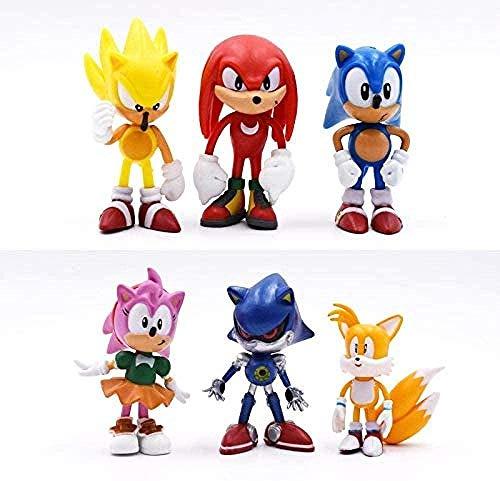 ANWEN 6 Piezas/Set 7cm Figuras de Sonido Juguetes Juguetes de PVC Sonic Shadow Tails Figuras Figura Juguetes para niños Animales Conjunto de Juguetes