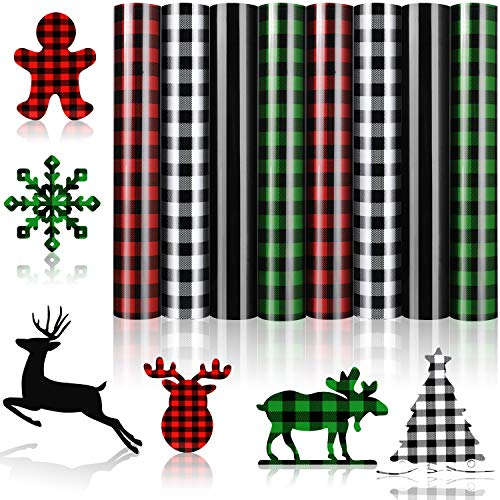 8 Sheets Valentine's Day Buffalo Plaid Iron-on Vinyl HTV Assorted Leopard Pattern Check Heat Transfer Vinyl Heat Transfer Vinyl for T-Shirts Fabric Craft, 12 x 10 Inch (Red, White-Black, Green, Black)