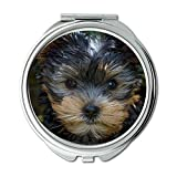 Espejo de maquillaje, espejo retrovisor para perro, cachorro Yorkshire Terrier Yorkshire Terrier Puppy, espejo de bolsillo, espejo portátil