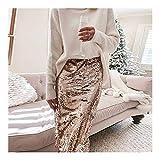 Hinchable Lentejuelas del brillo brillante faldas atractivas de Split elástico ajustado de la falda del verano del resorte Sólido Color de oficina Señora Falda Bueno ( Color : Gold , Size : XL )