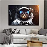 Mxjjjlop Cuadros De Animales Pintura Abstracta Brave Cat Space Astronaut Imprime Lienzo Póster Para La Pared De La Sala De Estar Decoración Del Hogar 60X80Cm Sin Marco