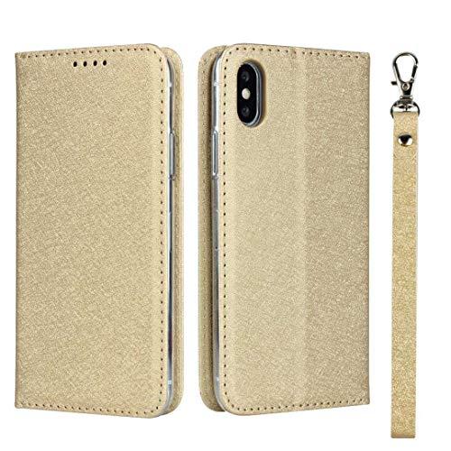 GIMTON iPhone XS Max Hülle, Brieftasche Hülle mit Klapp Ständer und Magnet Verschluss für iPhone XS Max, Stoßfest Kratzfestes PU Leder Schutzhülle, Gold