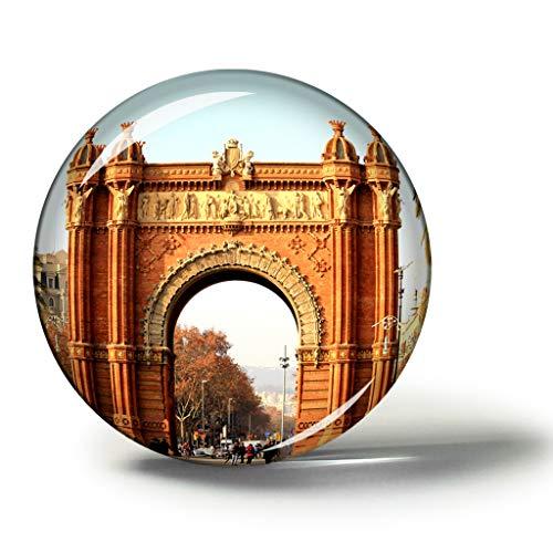 Hqiyaols Souvenir España Arco del Triunfo Barcelona Imanes Nevera Refrigerador Imán Recuerdo Coleccionables Viaje Regalo Circulo Cristal 1.9 Inches