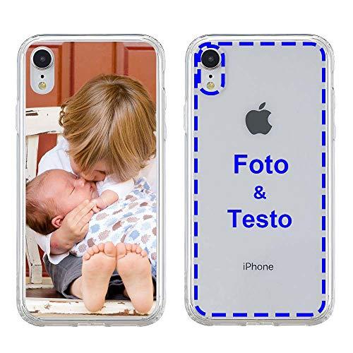 MXCUSTOM Cover Personalizzata per Apple iPhone XR, Custodia Personalizzate con Foto Immagine Testo Design Crea Le tue [Paraurti Morbido Trasparente+Piastra Posteriore Rigida] (CHT-CR-P1)