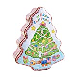 Amosfun Christmas Metal Tins Lighted Xmas Tree Shape Candy Box Gift Container Box for Xmas Holiday Party Supplies Tea Candles Cookie Gift Case