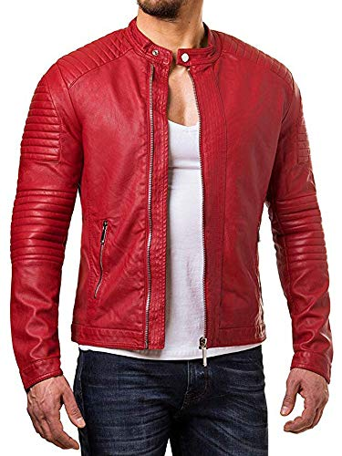 Cloudberry Mens Cafe Racer Quilted Real Lambskin Leather Jacket for Men XL Red