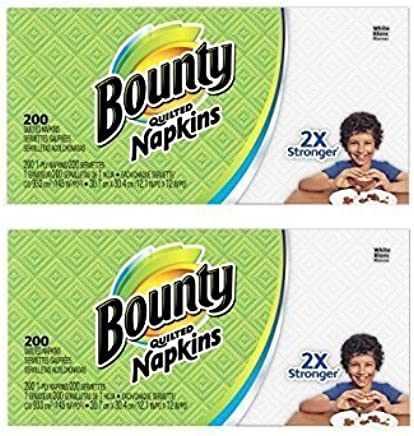 Bounty Paper Napkins, White or Printed, 200Count (2 Pack = 400 Napkins)