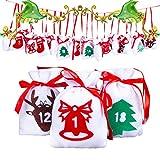 Gudotra 24pz Sacchetti Regalo Natale Sacchetti Caramelle Gadget Natalizie Bambini Decorazioni per Appendere Calendario Avvento (24pz Stile Natale)