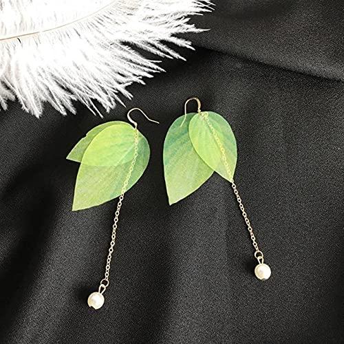 QWEQWE Embellecimiento Simple Retro Hojas Verde Hojas Pendientes Perlas Largo Borla Pluma Pendientes (Metal Color : Green)