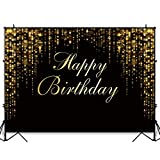 Funnytree 7x5ft Happy Birthday Party Backdrop Black and Gold Glitter Bokeh Sequin Spots Photography Background Golden Sparkle Shining Dots Baby Abstract Milestone Banner Cake Table Decoration Photo
