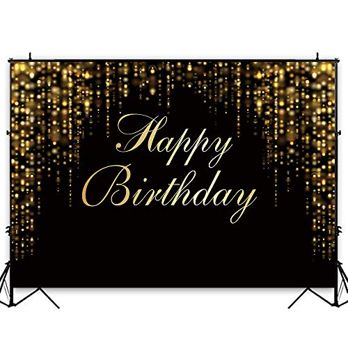 Funnytree 7x5ft Happy Birthday Party Backdrop Black and Gold Glitter Bokeh Sequin Spots Photography Background Golden Sparkle Shining Dots Baby Adult Abstract Banner Cake Table Decoration Photo Booth
