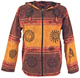 GURU SHOP Goa Jacke, Ethno Kapuzen Jacke, Herren, Rostorange, Baumwolle, Size:S, Jacken, Strickjacken, Ponchos Alternative Bekleidung