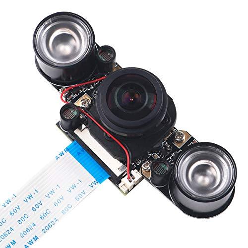 MakerHawk Raspberry Pi3 Kamera IR Fisheye 175 Grad 5MP OV5647 Webcam Eingebauter IR-Cut Automatischer Wechsel zwischen Day-Vision und Night-Vision Shooing-Modus für Raspberry Pi 3/2 / B +