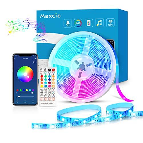 Maxcio Striscia LED RGB WiFi, Smart 5M Striscia di Luci Led 5050 RGB Compatibile con Alexa Echo e Google Home, Strip Led con Telecomando, Ideale Decorazione per Interni ed Esterni a Natale, Feste