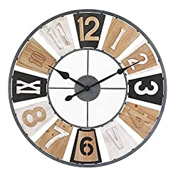 Retrome 31.5 Large Decorative Windmill Wall Clock with Wooden Roman Numerals, Oversized Farmhouse Silent Non-Ticking Metal Wall Clocks for Living Room Decor, Multicolored