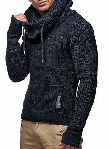 Leif Nelson Herren Strick-Pullover Strick-Pulli mit Schalkragen Moderner Woll-Pullover Langarm-Sweatshirt Slim Fit LN5060 Schwarz Large