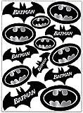 Biomar Labs® Conjunto de 13pcs Pegatina Batman Logo Negro Plata Emblema Vinilo Adhesivo Coches Cascos Motos Ciclomotores Bicicletas Ordenador Portátil D 60