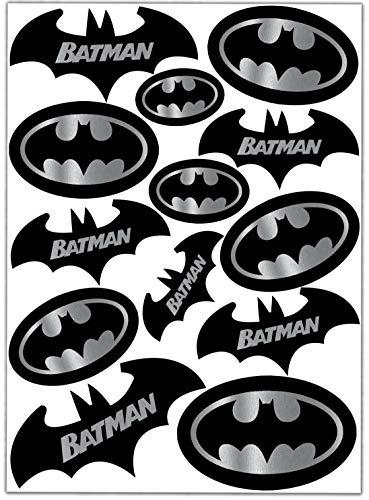 Biomar Labs® Set (13 stück) Vinyl Aufkleber Autoaufkleber Stickers Batman Silber Schwarz Logo Bat Sign Emblem Auto Moto Motorrad Fahrrad Scooter Fenster D 60