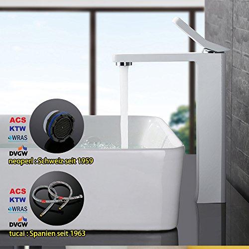 Homelody – Zeitgenössische Waschtischarmatur, Einhebelarmatur, ohne Ablaufgarnitur, hoher Auslauf, Weiß - 4