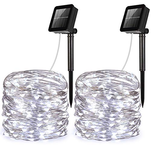 AMIR Solar Powered String Lights, Mini 100 LED Copper Wire Lights, Starry String Lights, Indoor Outdoor Waterproof Solar Decoration Lights for Gardens, Home, Dancing, Party (White - Pack of 2)