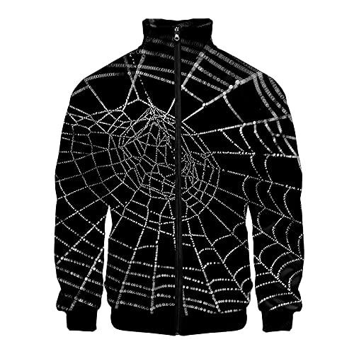 Sudadera para hombre de Halloween Horror Cosplay Series Chaqueta 3D Impreso Suéter Casual Unisex Manga Larga sin Capucha Ropa Exterior Cremallera Abrigos Soporte Collarr Traje