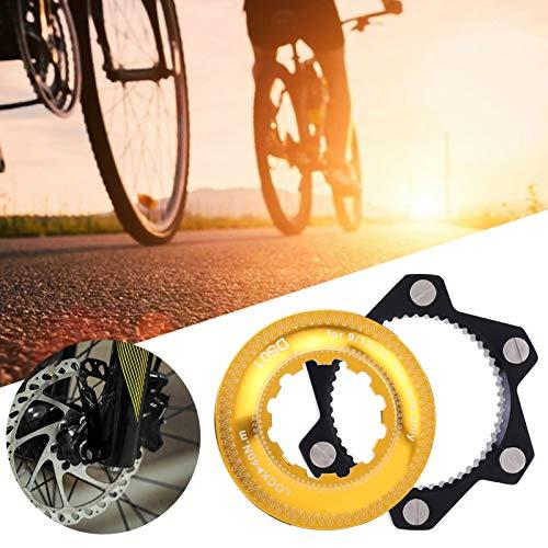 Voluxe Adaptador de Bloqueo Central, Adaptador de Rotor de Freno de aleación de Aluminio, para Bicicletas, Bicicletas de montaña, buje de Bloqueo Medio para Exteriores(Black+Gold)