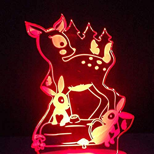 Lámpara 3D De La Ilusión Lámpara De Tabla Para Decoración Del Hogar Conejo 7 Colores Touch Sensor Lámpara Cargador Usb Dormitorio Decoración Regalo De Cumpleaños Para Niños