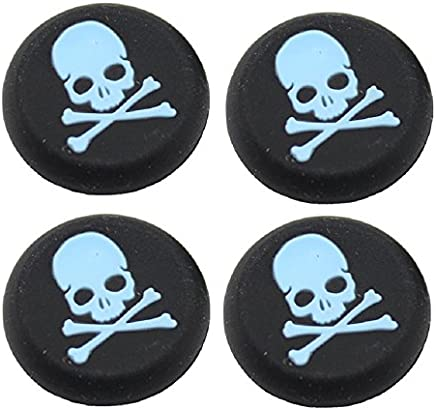 Everycom Skeleton Design Silicone Thumb Sticks Caps Handle Joystick Grip Cover For With PS4/Xbox 360 Controllers - Blue 2 Pair (4Pcs)