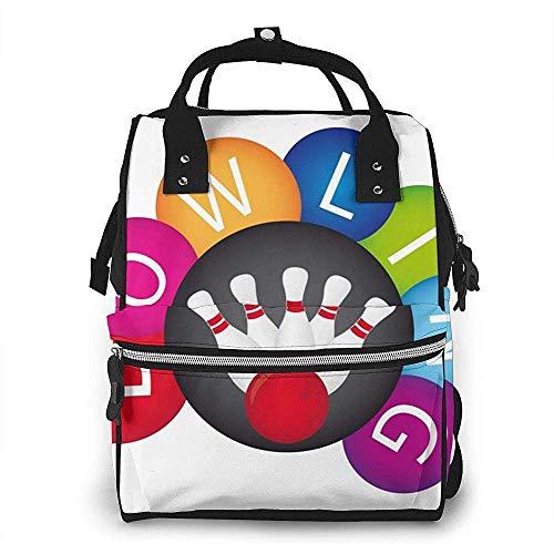 Farbkreis Coole Bowlingkugeln Wasserdichter Windelrucksack, Fach mit zwei Taschen und acht Aufbewahrungsmöglichkeiten für Eltern