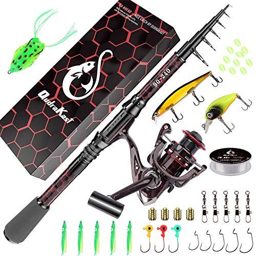 Kombinationen aus Angelrute und Rolle, einzigartiges Design mit X-Warping-Farbe, teleskopierbare Kohlefaser-Angelrute mit kombiniertem Angelruten-Kit mit Box, Angler (180-Red)