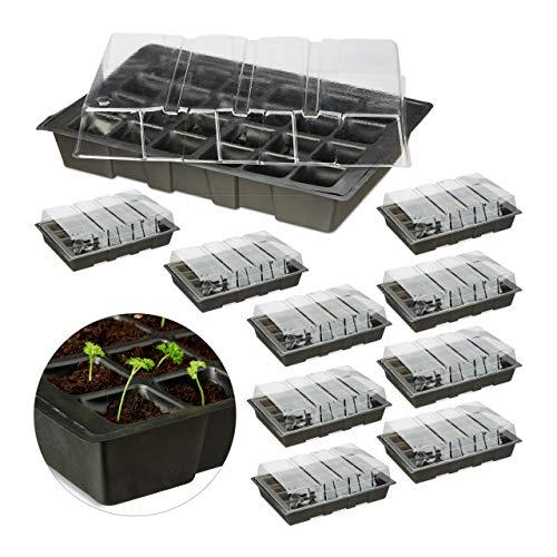 Relaxdays 10 x Mini Anzuchthaus mit 24 Fächern, transparente Abdeckhaube, Topfplatte mit Löchern, Wanne, Kunststoff, schwarz