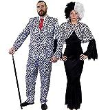 ILOVEFANCYDRESS SUPER Delux Dalmatiner Paare KOSTÜM VERKLEIDUNG Fasching Karneval = LANGES Gothic Kleid+Cape +Krause PERÜCKE+ Dalmatiner Look Hosenanzug+Krawatte=Frauen-XXLarge+...