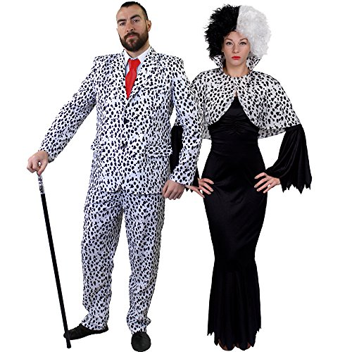 I LOVE FANCY DRESS LTD SUPER Delux Dalmatiner Paare KOSTÜM VERKLEIDUNG Fasching Karneval = LANGES Gothic Kleid+Cape +Krause PERÜCKE+ Dalmatiner Look Hosenanzug+Krawatte=Frauen-Large+ MÄNNER-MEDIUM