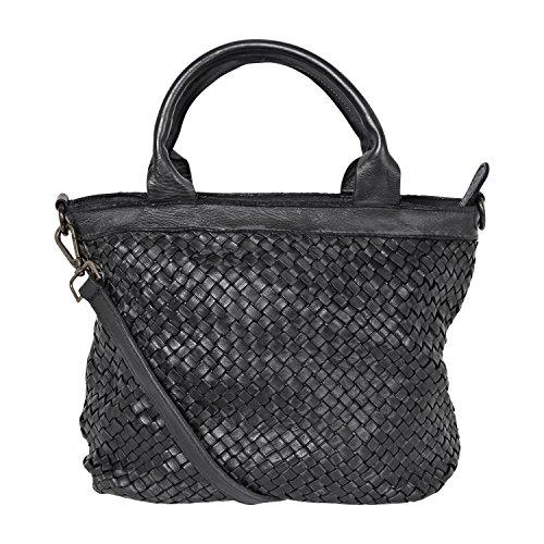 fashion-formel Leder Damen Tasche Beutel geflochten,Shopper schwarz, Schultertasche Vintage Used Look M2124 gewaschenes Leder, Italy handgefertigt