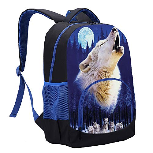 Wolf Backpack 3D Print Animal Blue School Bag for Boy and Mens Back To School Best Gift (1)