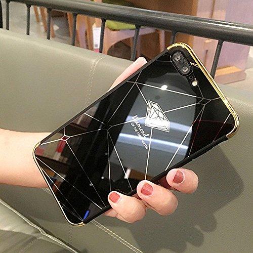 JAWSEU Coque Etui iPhone 7 Miroir Cristal Clair Silicone Case pour iPhone 8, Ultra-Mince TPU Placage Miroir Housse de Protection Soft Gel Plastique Dur Diamant Motif Shockproof Bumper Case
