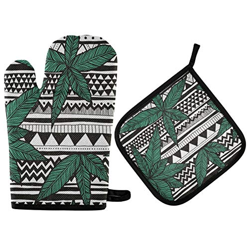 Naivey Oven Mitts and Pot Holders Sets Tribal Canabis Leaf Heat Resistant Kitchen Counter Safe Mats Oven Gloves for Home Cooking BBQ Baking
