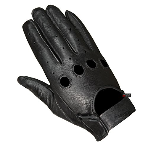 New Biker Police Leather Motorcycle Riding Ventilation Driving Gloves Black XL
